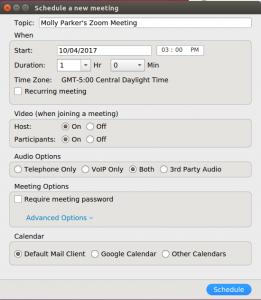 zoom meeting scheduling
